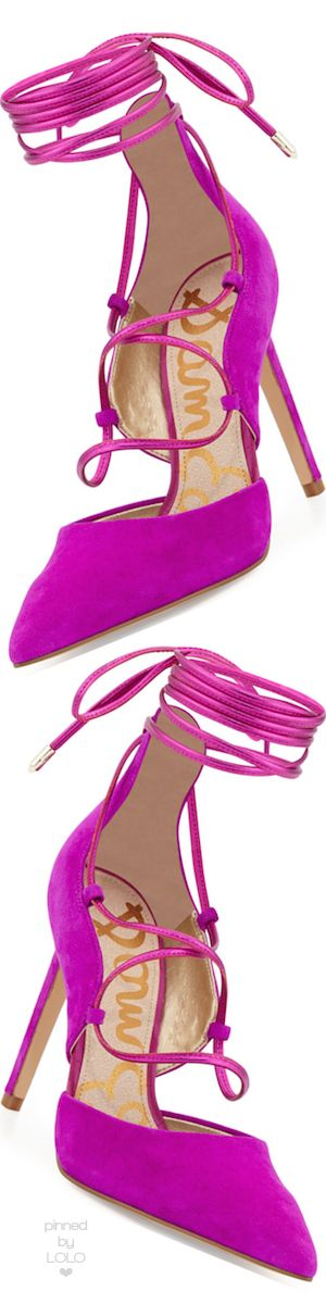 Rosamaria g Frangini   ShoeAddict   Sam Edelman Dayna Suede Lace-Up Pump, Fuchsia   via Lolo