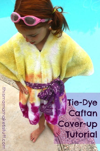 Turn a dingy bathroom towel into a fun, tie-dyed, summer swim cover-up!: Children Crafts, Coverup Tutorial1, Bathroom Towels, Caftan Coverup, Tie Dye Caftan, Craft Ideas