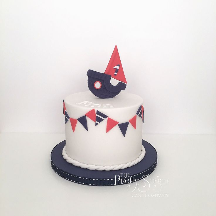Nautical themed first birthday cake