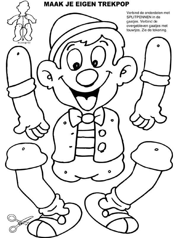 Kleurplaat Trekpop Pinokkio - Kleurplaten.nl