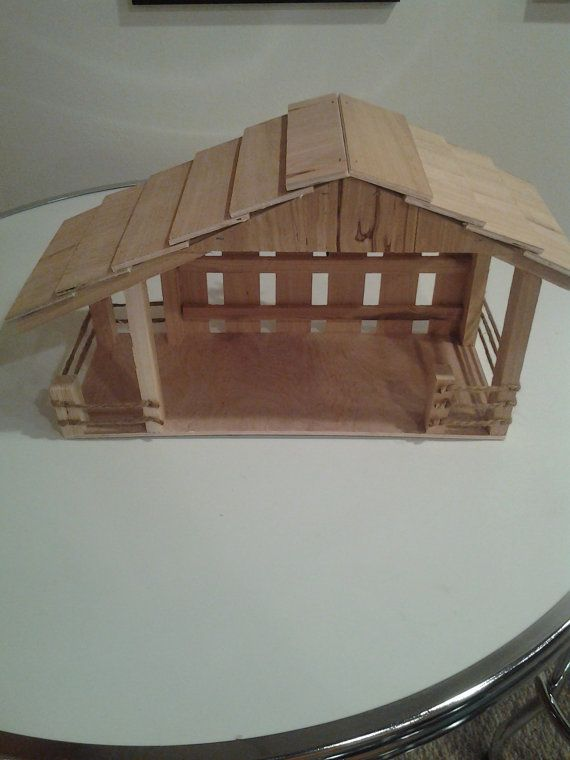 Handmade Wooden Christmas Nativity Manger Stable with by joevic350, $49.95
