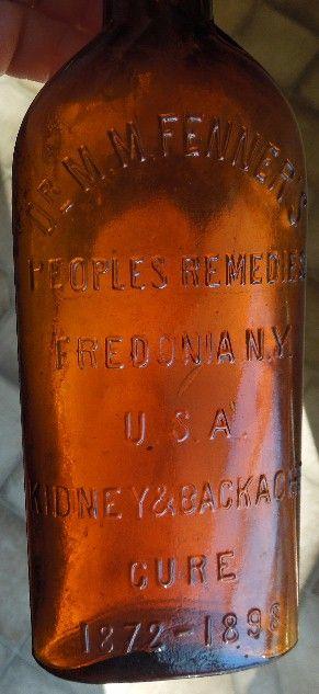 Antique Medicine Backache Cure Brown Glass Bottle Fenner's Fredonia NY 1872 1898 | eBay