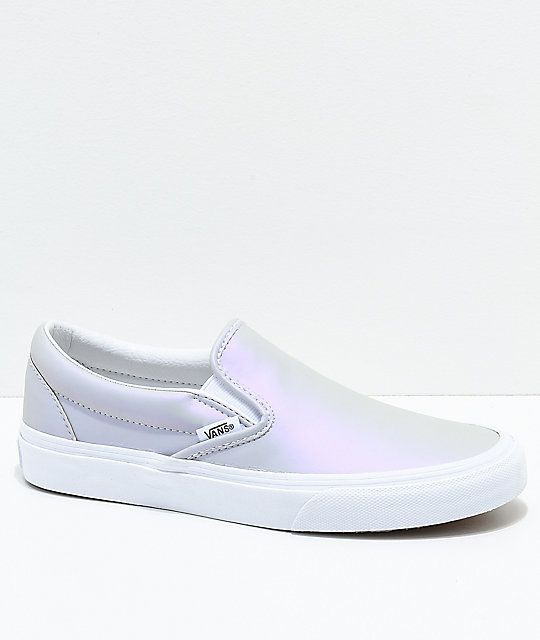 bcba09943580 Vans Slip-On Iridescent Muted Metallic Grey   White Skate Shoes in ...