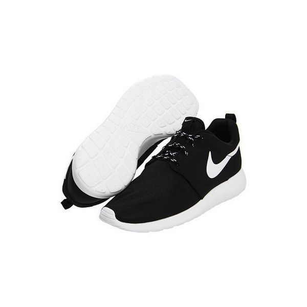 ($91; Nike Roshe Run Women's Shoes Black ❤ liked on Polyvore featuring shoes,  athletic shoes,