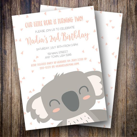Koala Birthday Party Invitation, Koala Bear Birthday Party Invite, Printable Koala Birthday Invite in Shades of Coral Pink and Gray by Spotted Gum Design on Etsy
