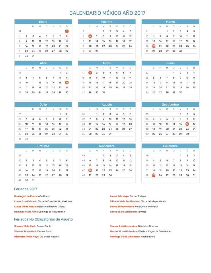 Calendario de México con feriados nacionales año 2017. Incluye versión para imprimir en formato JPG y PDF totalmente gratis.