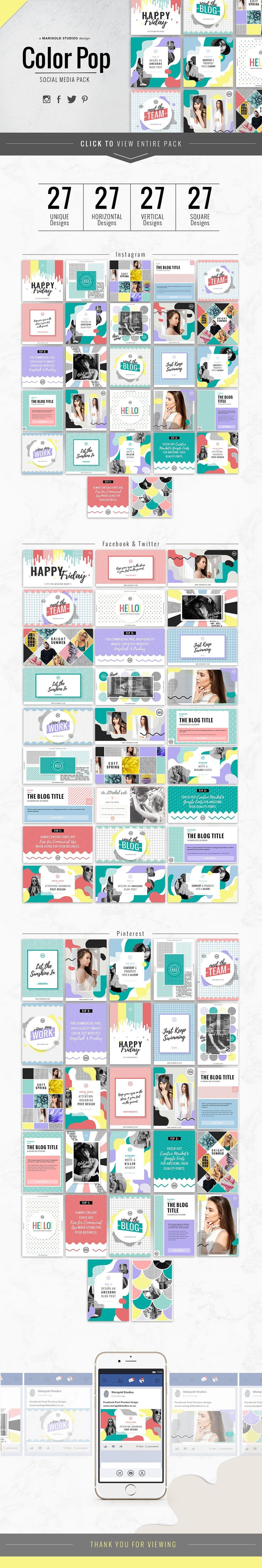 COLOR POP | Social Media Pack by Marigold Studios on @creativemarket Social Media, Design, Memphis, Colourful, Creative, Twitter, Instagram, Pinterest, Facebook