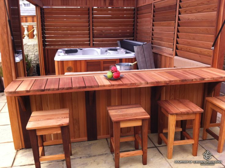 Inexpensive DIY Outdoor Hot Tub Enclosure with Bar and Louvered Panels for Extra Controlled Privacy. Photo Courtesy of Crown Pavilions.