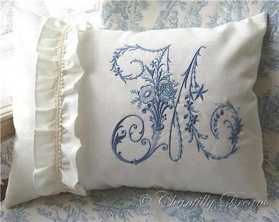 Custom French Victorian Moiré Ruffled Embroidered Monogram Boudoir Pillow Cover in Home & Garden, Home Décor, Pillows | eBay