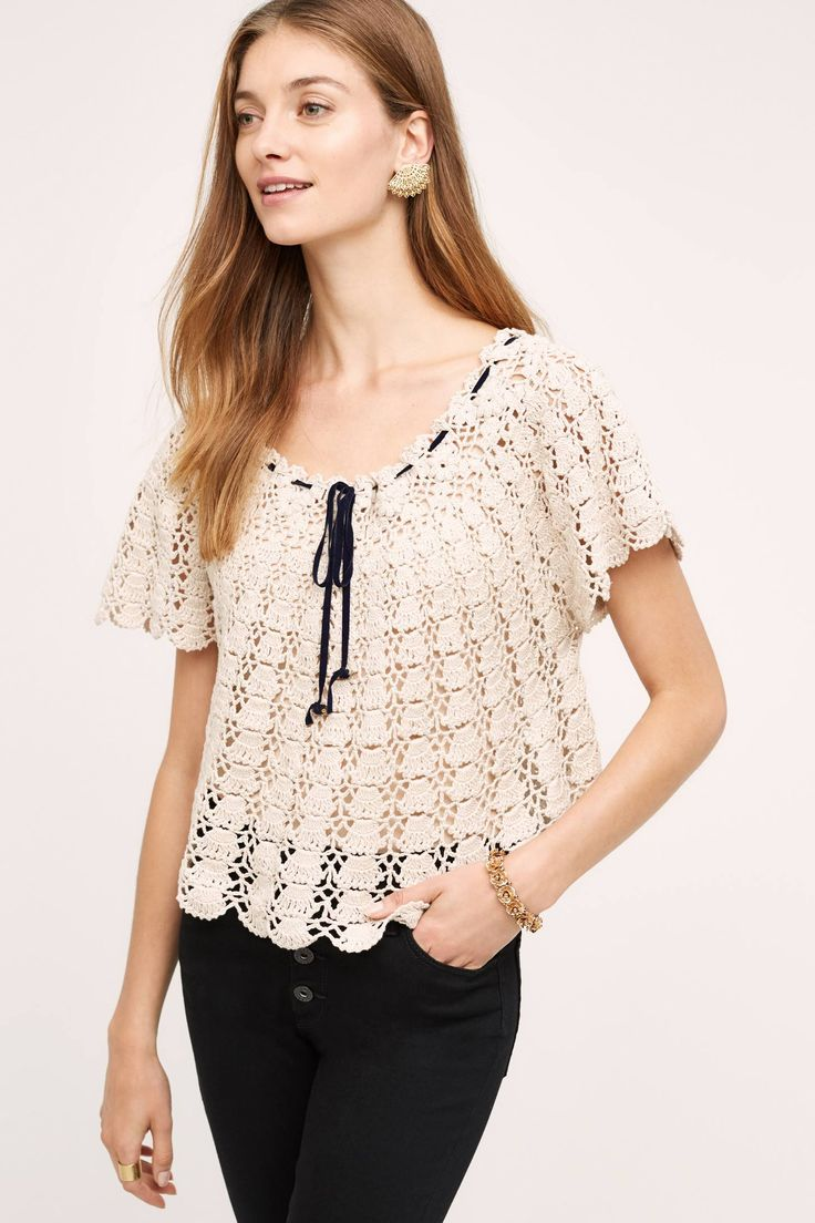 Anaelle Crochet Pullover - anthropologie.com