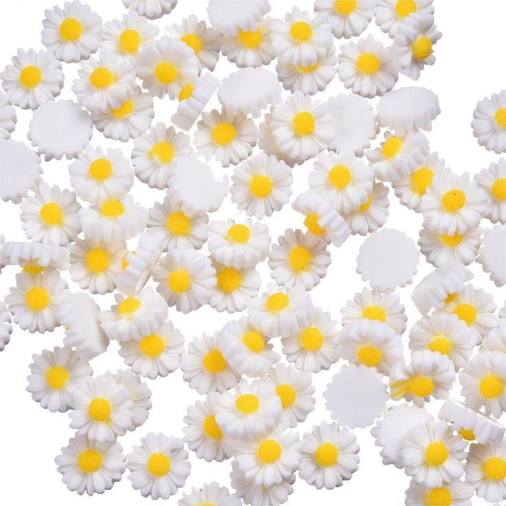 100 Pcs White Resin Flowers Wedding Decoration - Wedding Look