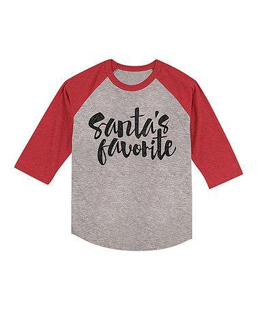 Loving this Heather Gray & Red 'Santa's Favorite' Raglan Tee - Toddler & Kids on #zulily! #zulilyfinds
