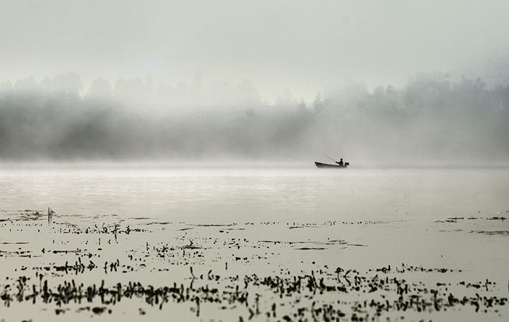 #fog #mist #river #fisherman #boat #scene by Leena Holmström