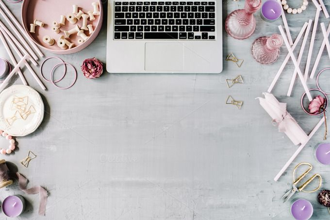 Workspace with laptop and decor by Floral Deco on @creativemarket