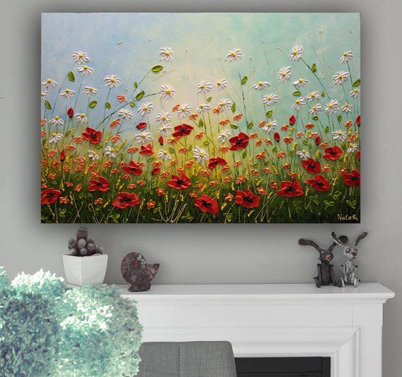 Wildflower Painting, Acrylic Large Painting, Daisy Painting, Impasto Art, Original Floral Art, Colorful Painting, Large Abstract Art by Nata