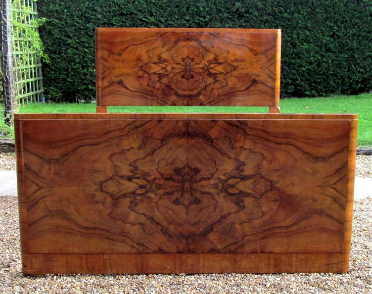 Fabulous Art Deco Double Bed in Walnut Oyster Veneer and New Pine Base