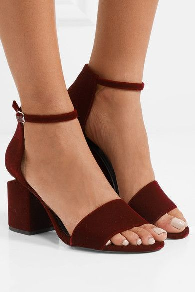 Heel measures approximately 60mm/ 2.5 inches Claret velvet and leather Buckle-fastening ankle strap Designer color: Bordeaux Imported