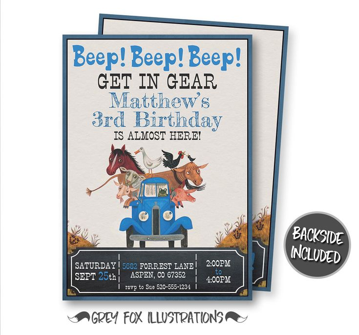 Little Blue Truck Birthday Invitation, Little Blue Truck Invitation, Little Blue Truck Party, Little Blue Truck Personalized, Printables by GreyFoxIllustrations on Etsy https://www.etsy.com/listing/497191757/little-blue-truck-birthday-invitation