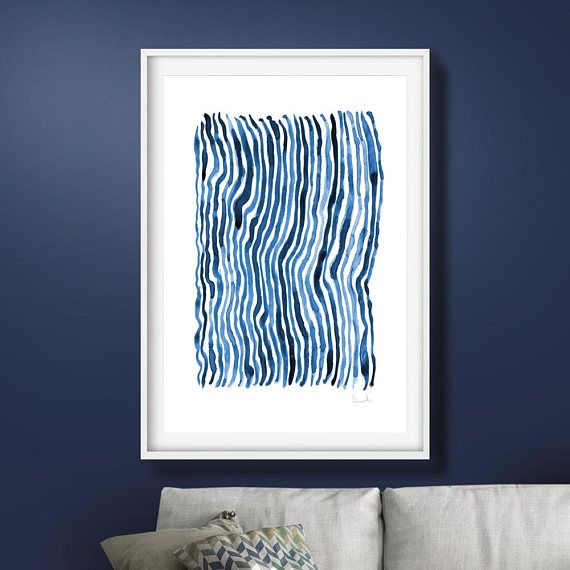Abstract Painting Abstract Art Prints Large Wall Art Navy Blue