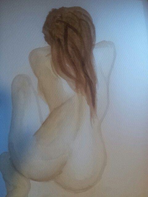 Watercolour female nude