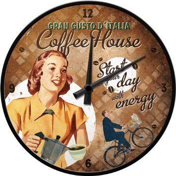 Horloge murale dans un Style rétro - Coffee House Lady - Pendule murale - nostalgie vintage