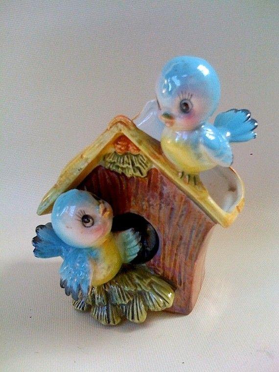 Vintage Planter: Vintage Ceramic, Vintage Christmas, Bluebirds Figurine, Vintage Planters, Bluebirds Planters, Bluebirds Birds, Vintage Bluebirds, Bluebirds Vintage, Vintage Style