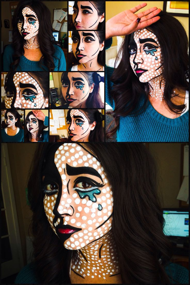 DIY pop art makeup. First Halloween look! My first time creating this Comic book cartoon pop art look.