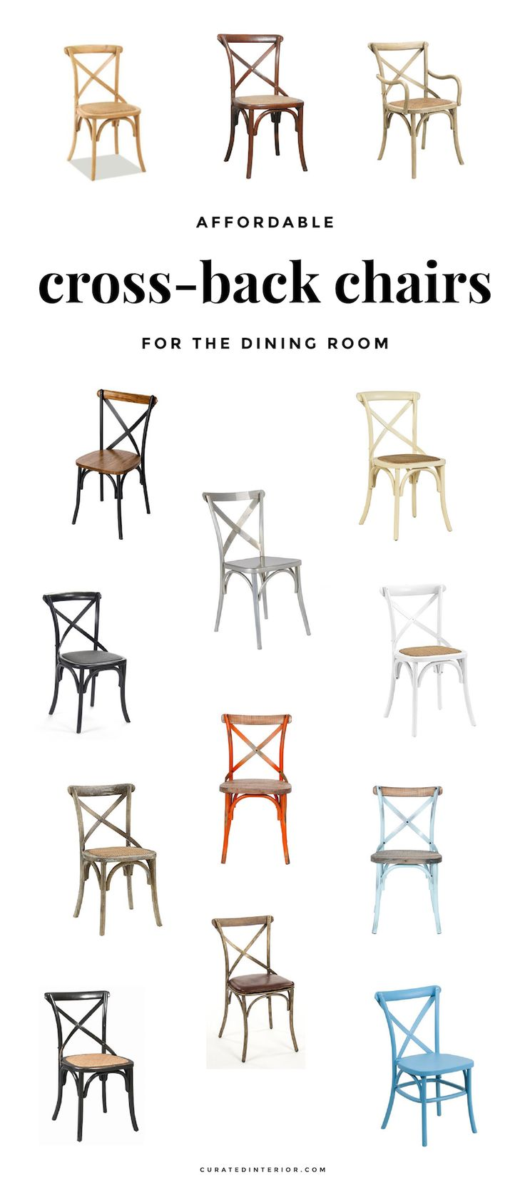 Louis cane back dining chair set of 2 ballard designs - 14 Affordable Cross Back Dining Chairs