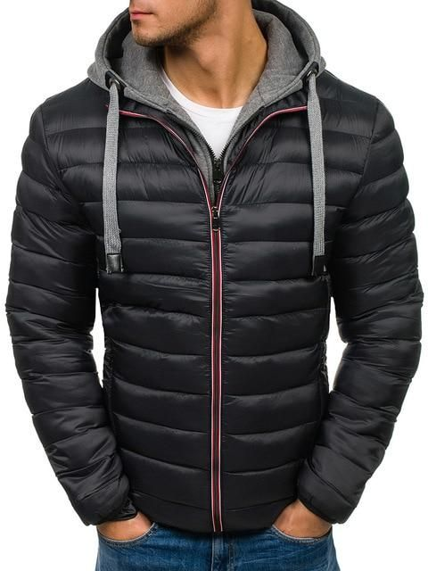 6f68ecc68 Men Winter Parkas Jacket Fashion Solid Hooded Coat Jackets Zipper ...