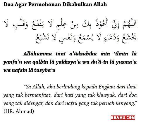 """""""Ya Allah, aku berlindung kepada Engkau dari ilmu yang tak bermanfaat, dari hati yang tak khusyuk, dari doa yang tak didengar, dan dari nafsu yang tak pernah kenyang."""" (HR. Ahmad)"""