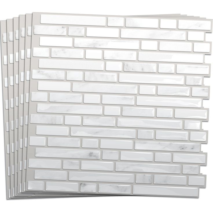 Shop smart tiles 6 pack white silver composite vinyl for Balcony wall tiles