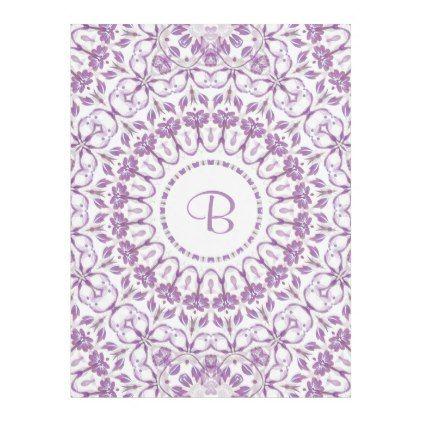 #Purple Floral Mandala Monogram Fleece Blanket - #floral #gifts #flower #flowers