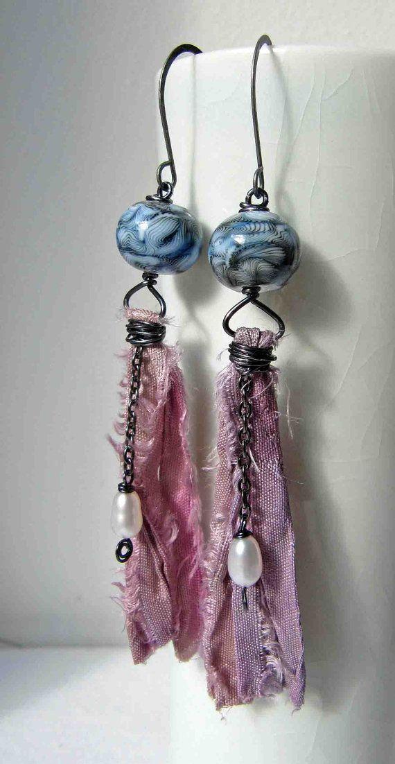 Stonewash  handmade earrings beaded earrings art by somethingtodo, £17.50