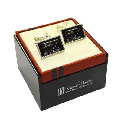 David Martin Silver Plated Usher Cufflinks in feature Box. High quality silver plated cufflinks with curved back bar and swivel plate fixing for a contemporary feel. Box is gloss black with burgundy leatherette top for a stunning presentation.