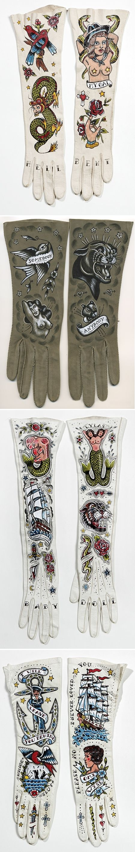 "gloves series - ellen greene ['… traditional american tattoo is a symbol of masculine adventure, rebellion and sexual exploits. at the same time gloves were a staple of ""good"" american women, tattoos were only for sailors bikers and criminals. no proper woman also had tattoos – especially not on her hands'"