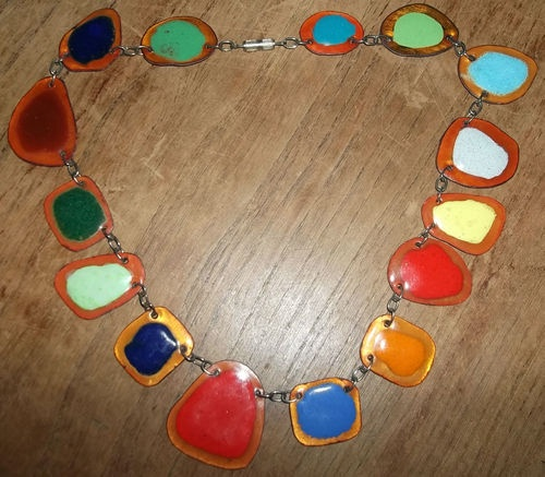 Hand Crafted Enamel House Necklace Pendant Copper Home: Vintage Hand-Made Multi-Coloured Enamel On Copper Necklace