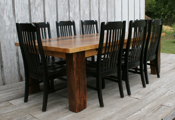 Barnwood table with black chairs i love my current for Barnwood kitchen table and chairs