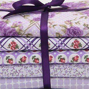 """Kit de tecidos """"Treliça de Flores"""" - lilás"""
