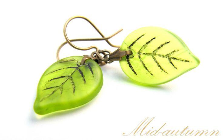 Hand-made glass leaves/bronze earrings Cercei Mid-autumn (25 LEI la afterforever.breslo.ro)