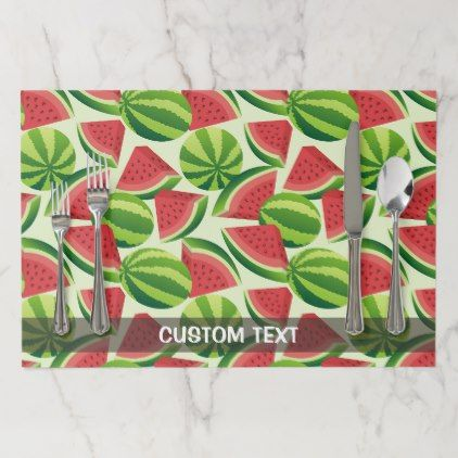 Watermelon slice seamless background placemat - red gifts color style cyo diy personalize unique