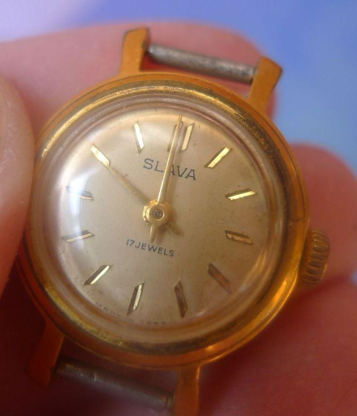 Vintage USSR Soviet Lady's Mechanical Wrist Watch SLAVA 17 Jewels #Slava