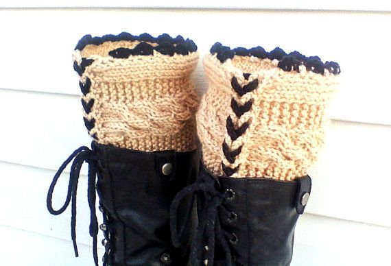 Beige knit leg warmers cable leg warmers cable by HandmadeTrend, $25.00