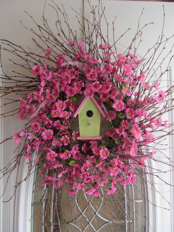 Spring welcome! wreath with bird house!!! Bebe'!!! Love the pink and green wreath!!!!