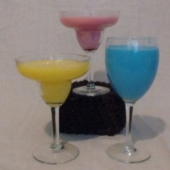 Margarita Candles, Pink Pomegranate, Yellow Honeysuckle, Blue Blueberry, Candle Set, Gift for Sister, Gift for Mom, Fun Gift, Upcycle, Yummy