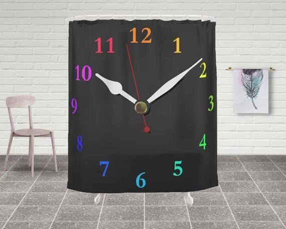 Schwarze Uhr Duschvorhang, Badezimmer Dekor, schwarze Bad Vorhang, Bad-Accessoires, Art Duschvorhang, einzigartige Wohnkultur SWclock   – StudioDLifeStyle