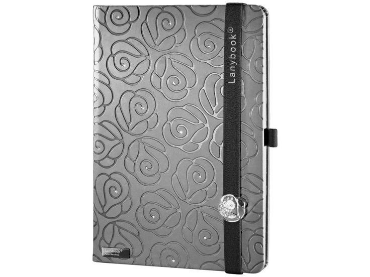 Designový zápisník posázený krystaly Swarovski a s Lanybuttonem ve tvaru růže. Kombinace funkčnosti, noblesní elegance a italské módy.