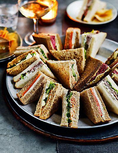 27 best trays platters images on pinterest breakfast for Club sandwich fillings for high tea