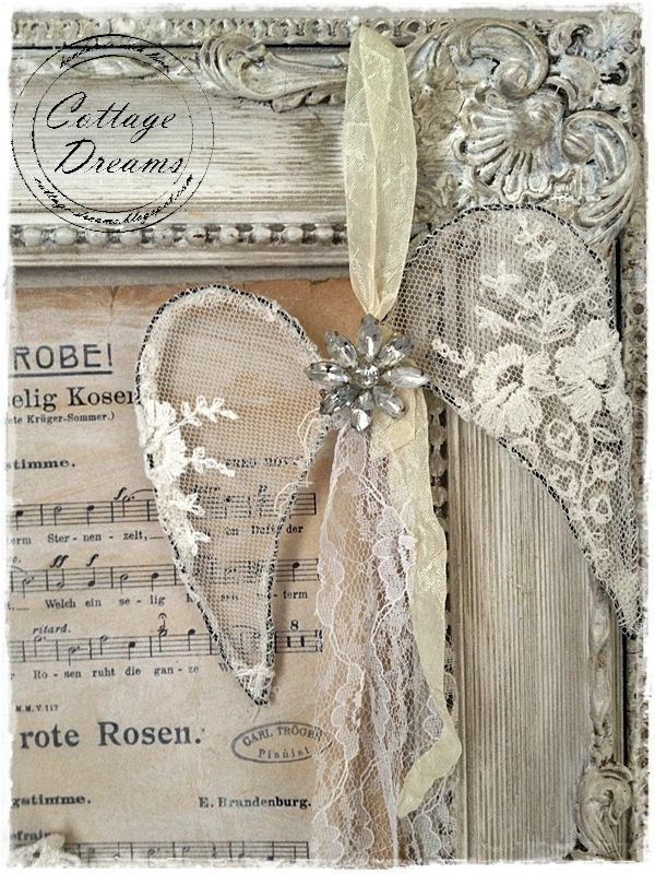 Shabby Chic Angel Wings made of Vintage Lace and Jewelry! MUST TRY - ADD TO A WINTER SCENE L/O
