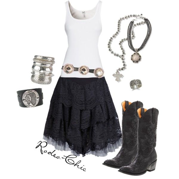 """Gypsy Soul"" by rodeo-chic, lace skirt with cowboy boots @Donna Maywald Gringo Boots"
