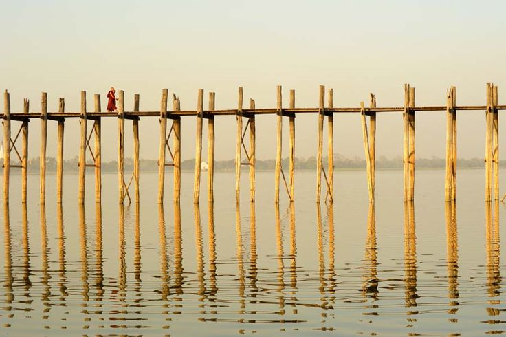 #amarapura, #myanmar, #burma, #ubeinsbridge, #monks, #bridge, #sunset, #travel, #reflection, #lake, #water